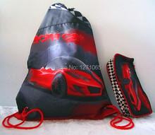Men's 2pcs Set Cool Sports Car Drawstring Bag School Bag Backpack Outdoor Travel Camping Hiking Backpack Pen Bag Portable(China (Mainland))