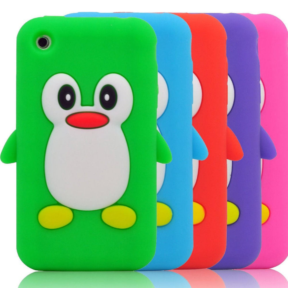 New Cute 3D Penguin Soft Silicone Rubber Skin Case Cover for Apple iPhone 3G 3Gs Free Shipping(China (Mainland))