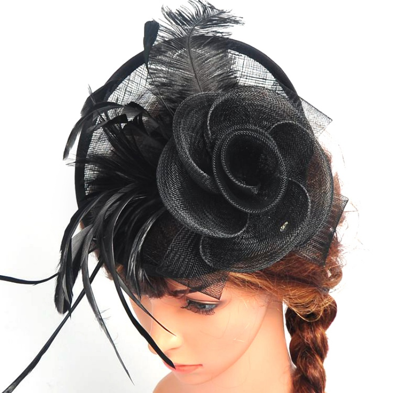 Lady Girl Mini Hat Feather Hair Clip+Mesh Net Fascinator Hair Accessory(China (Mainland))