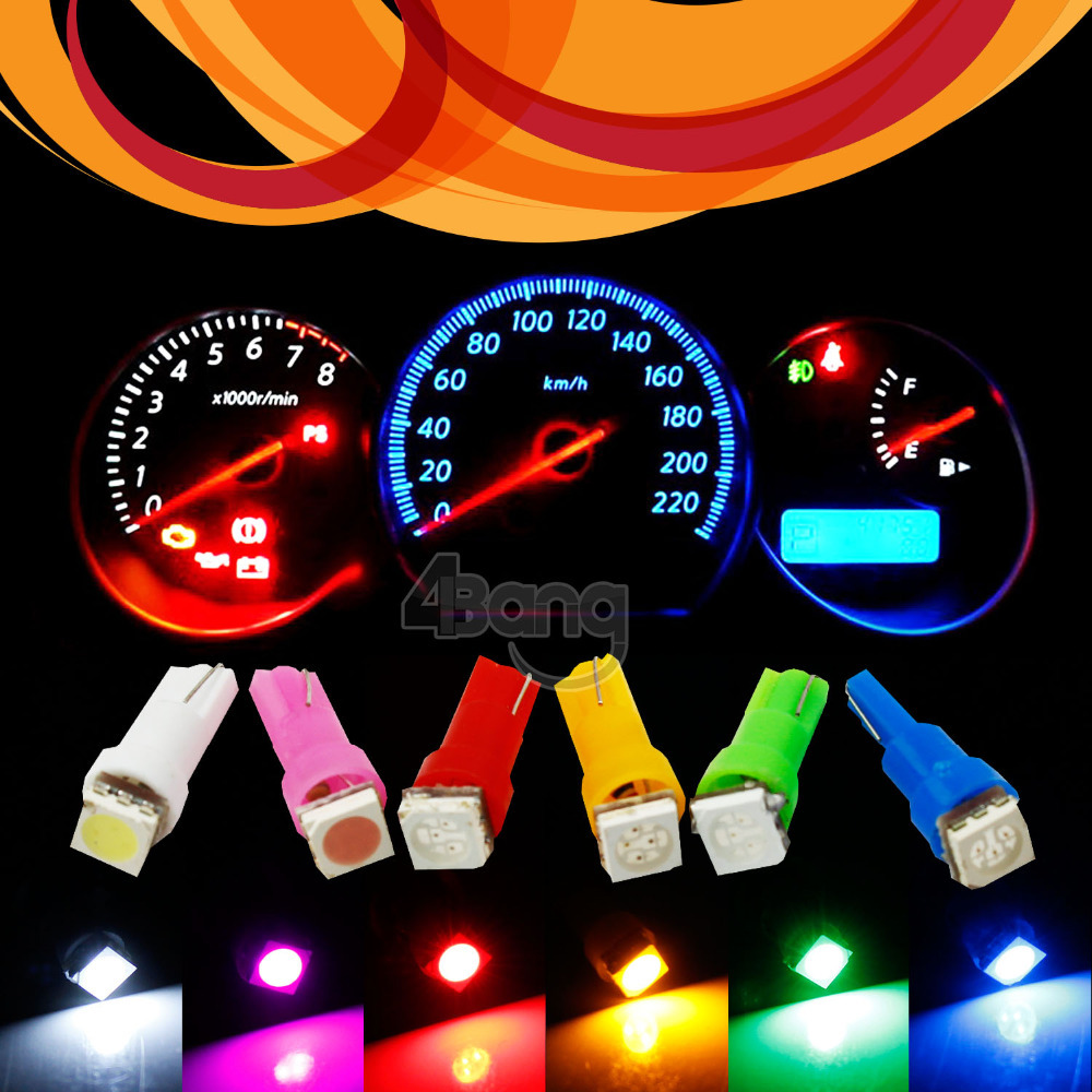 10pcs Car Interior LED T5 1 SMD 5050 led Dashboard Wedge LED Light Bulb Lamp With Socket - Yellow Blue Green Red White Pink(China (Mainland))