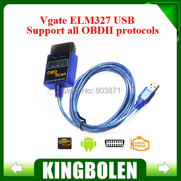 2015 Highly Recommend Vgate ELM327 USB OBD Scan Diagnostic Scanner Work With OBD2 Vehicle Vgate ELM 327 USB OBD2 Scan(China (Mainland))