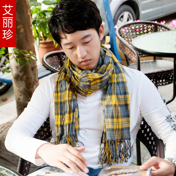 Scarf autumn male Women fashion square grid tassel scarf all-match