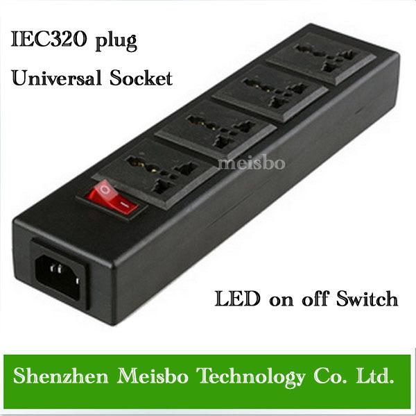 Multifunction 250v 13a 4 jacks Universal power outlet PDU strip IEC320 plug adaptor desktop socket power cord converter(China (Mainland))