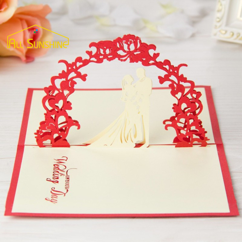 3D Pop up Cards Happy Lovers Greetings Cards Wedding Invitation Card Birthday Valentine's Day Wishes Gift Paper Sculpture Craft(China (Mainland))