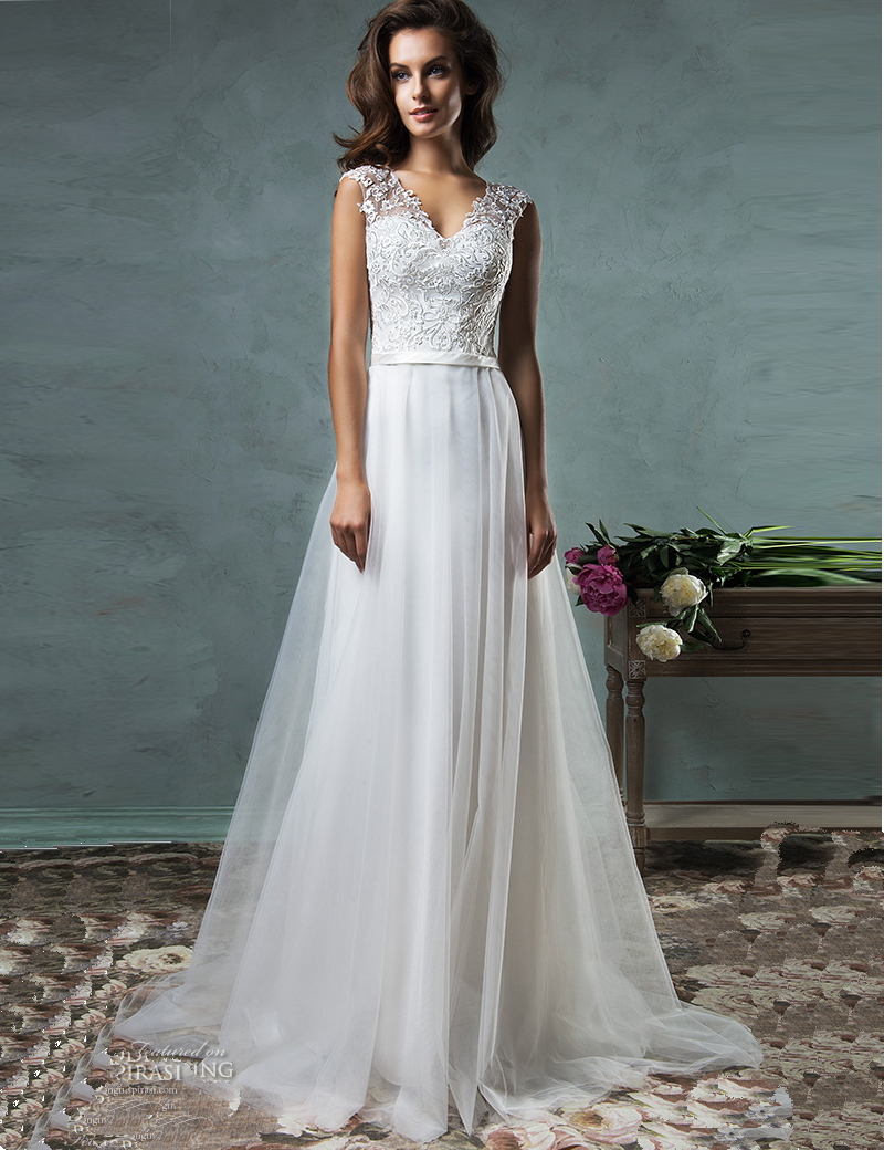 Buy vestido de noiva a line beach wedding for Buy beach wedding dress