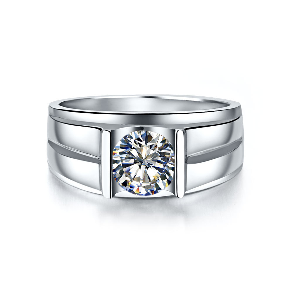 Moissanite 14K Gold Brief Men Jewelry Ring 1CT Gold 14K Engagement Ring for Bridegroom Certified Moissanite Solid 14K White Gold(China (Mainland))