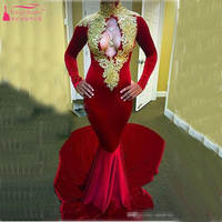 Evening Dress Arabic Elegant Prom Party Dress High Neck full sleeve Sexy Evening Gowns Mermaid Red