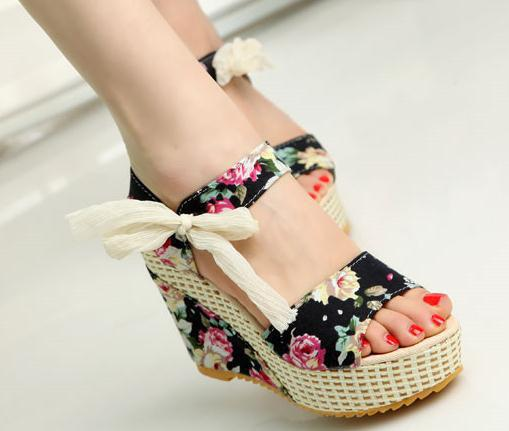Fashion Summer wedges sandals female shoes women platform lace belt bow Flip Flops open toe high-heeled - wenqin he's store