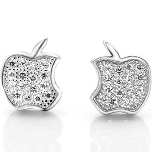 AAA 100% 925 Sterling Silver Jewelry Ultra- Flash Apple Silver Earrings Stud Earrings Free Shipping Top Quality(China (Mainland))
