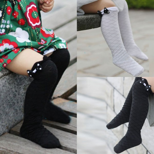 Toddler Baby Girls Cotton Gridding Bow High Knee Socks School Socks Girls Knee High lace socks