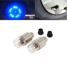 2PCS Car Tire Tyre Wheel LED Valve Cap Stem Lights Lighting Blue Decoration Car Accessories Wheel Caps Cover(China (Mainland))