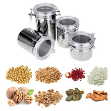4pcs/set Stainless Steel Sealed Cans Pots Storage Spice Jars with Transparent Covers Coffee Tea Candy Beans Milk Powder Food(China (Mainland))