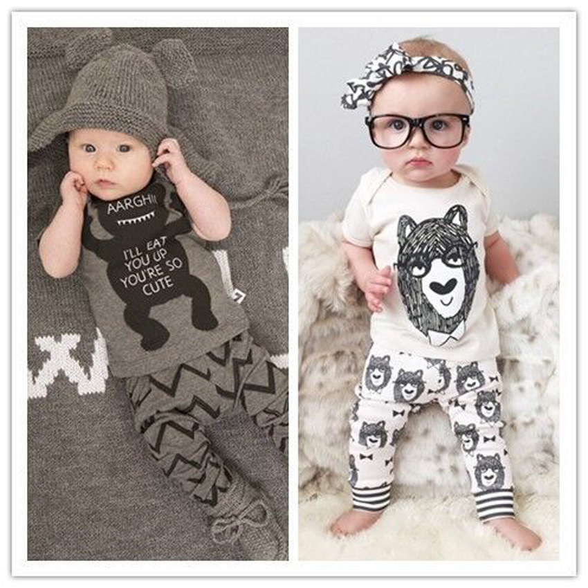 Promotion!!! New boys girls summer suit little monster pattern kids short sleeve sets children clothes sets(China (Mainland))
