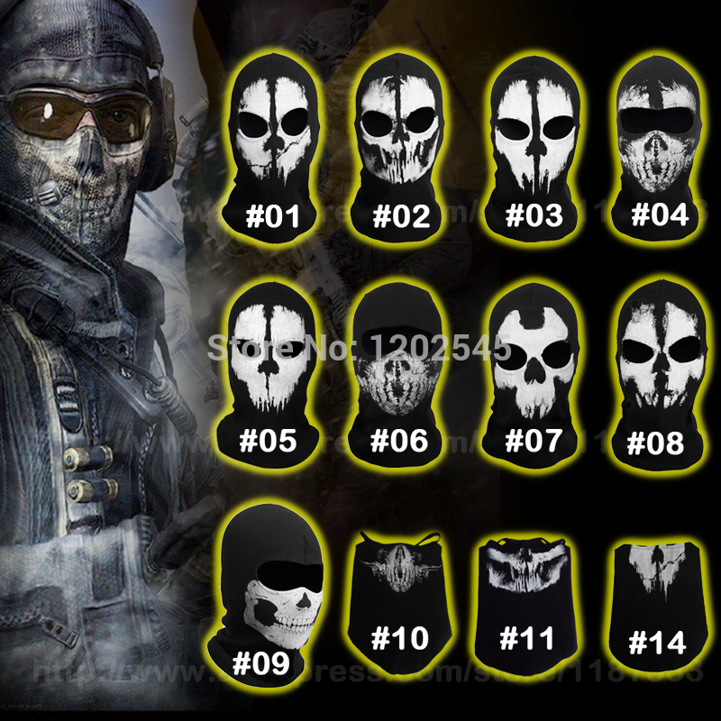 New Ghost Masks Skull Balaclava Paintball Outdoor Ski Army Costume CS WarGame Airsoft Military Tactical Game Hats Full Face Mask(China (Mainland))