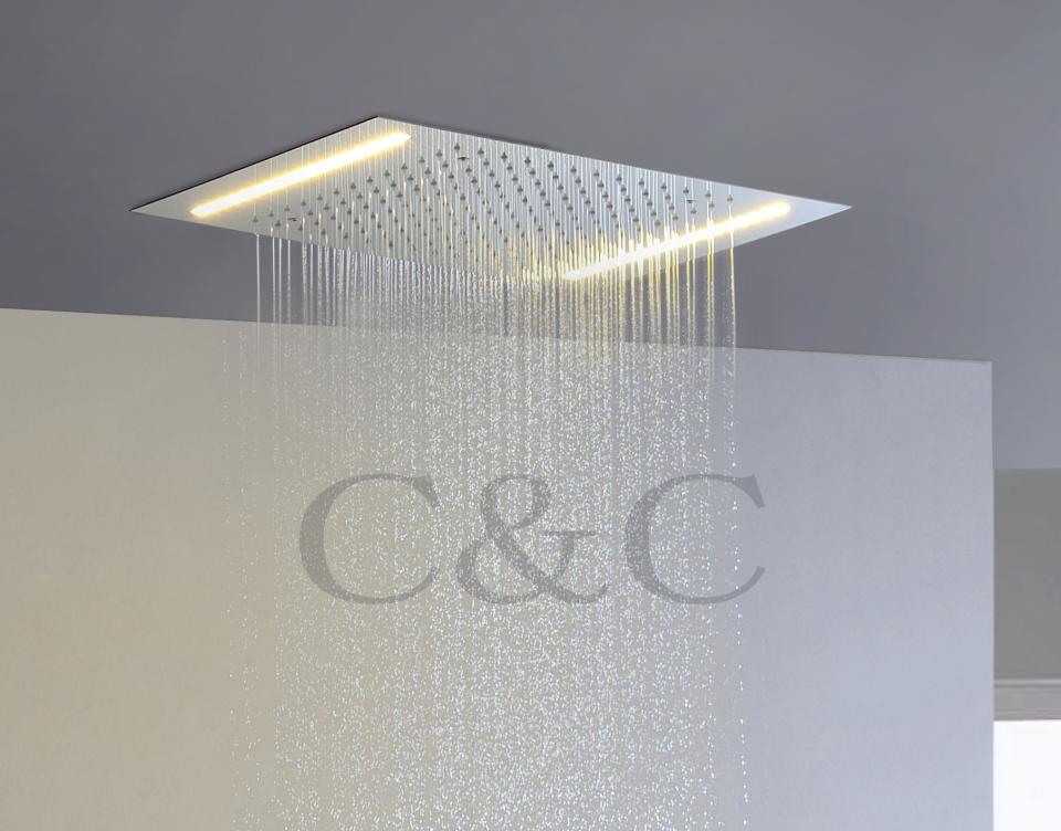 Bathroom Rainfall LED Shower Head 110V~220V Alternating Current Yellow Lamps L-50X36E(China (Mainland))