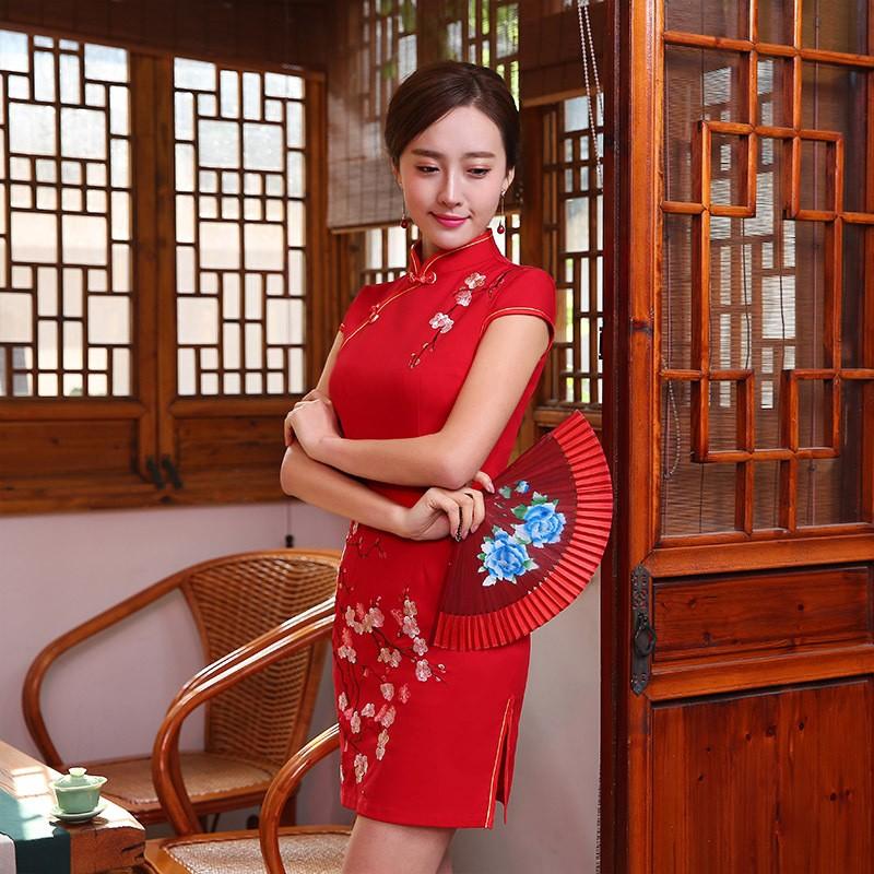 มาใหม่แฟชั่นแผนจีนชุดผู้หญิงผ้าไหมCheongsam QipaoมินิVestidoเดเฟสต้าขนาดSml XL XXL Z20160323 ถูก