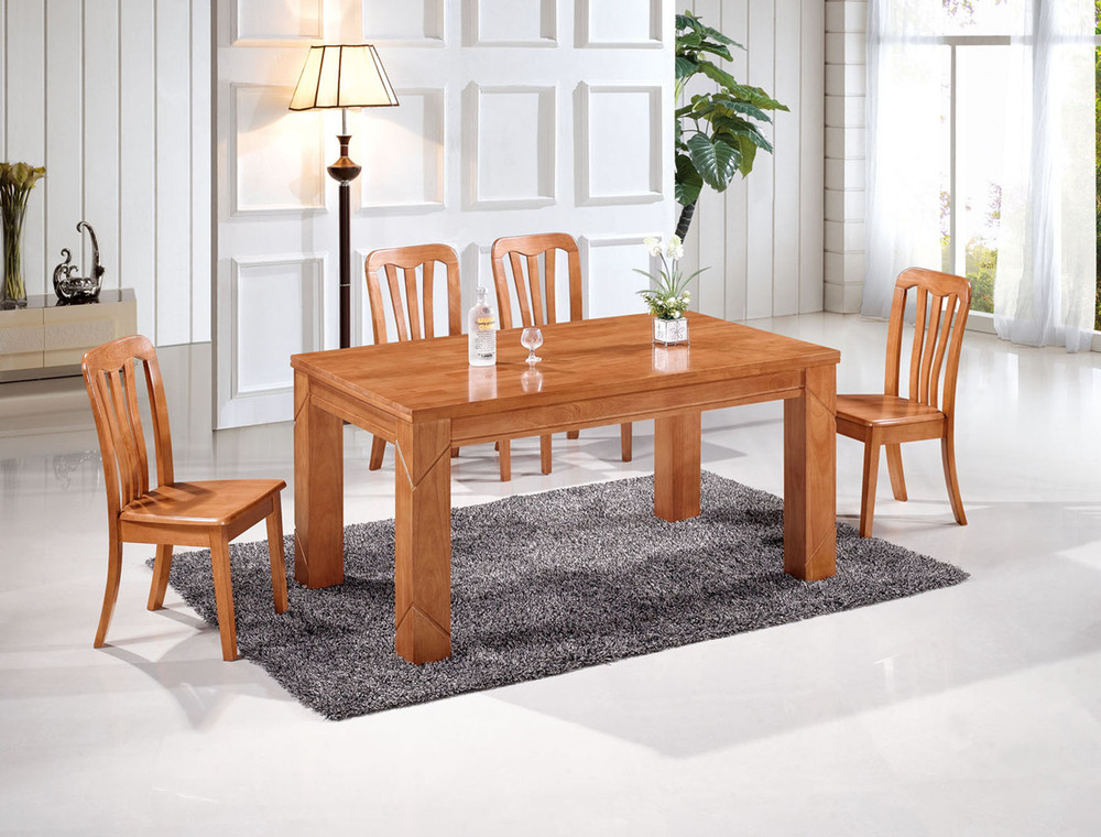 Factory direct oak dining tables and chairs with a for Solid wood dining table sets