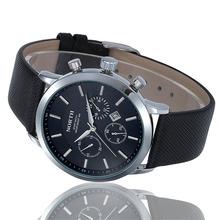 2015 Fashion Casual Mens Watches Top Brand Luxury Leather Strap Waterproof Sport Quartz Wristwatch Clock Male