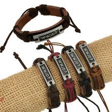 Fashion Leather Bracelet 100% Leather Hand Catenary And Bracelet Adorn Article WWJD?National Wind English Alphabet Jewelry(China (Mainland))