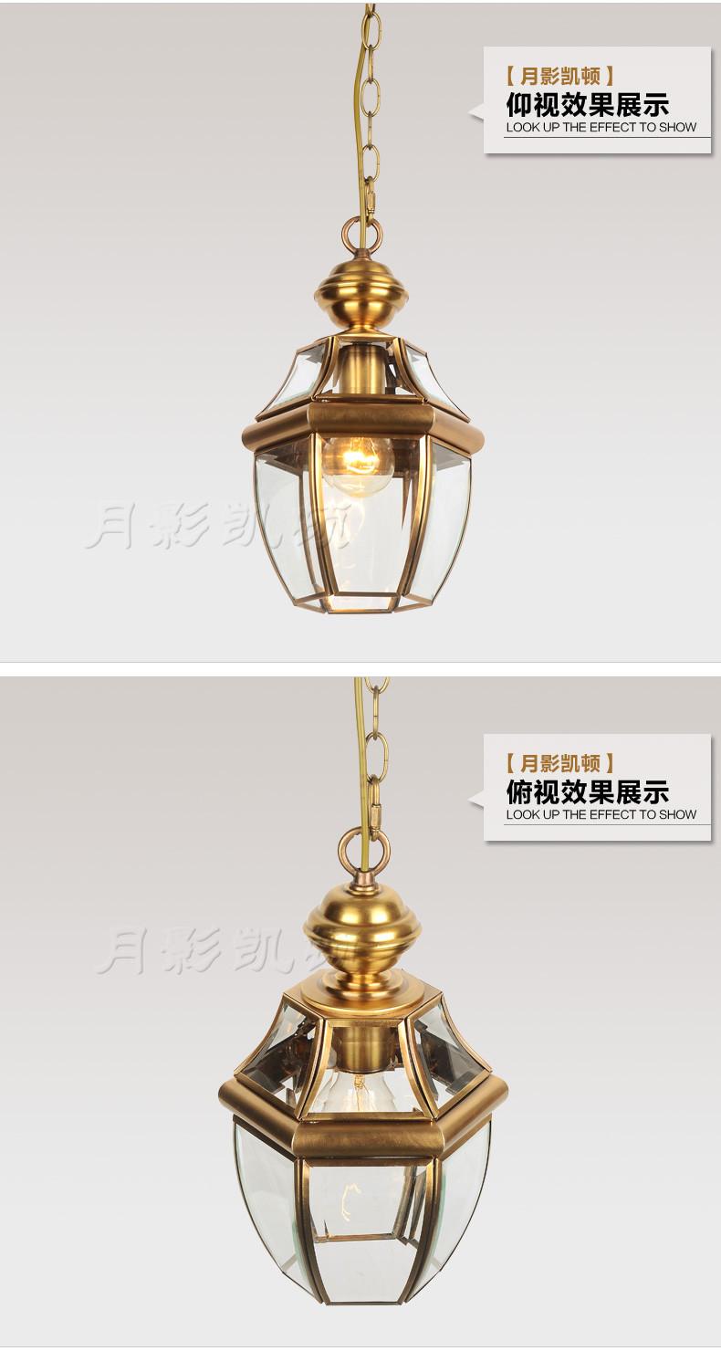 Купить All-American небольшие медные светильники люстры балкон Проходу Лампа коридор Свет садовые фонари стеклянные лампы