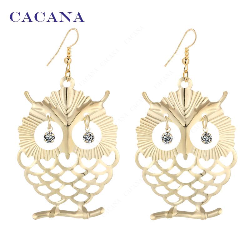 2016 new CACANA gold plated dangle long font b earrings b font for women beautiful owl