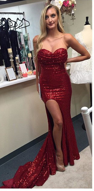 Sexy Off The Shoulder Coral Color Chart Sequined Sweetheart Long Side Slit Court Train Prom Dress(China (Mainland))