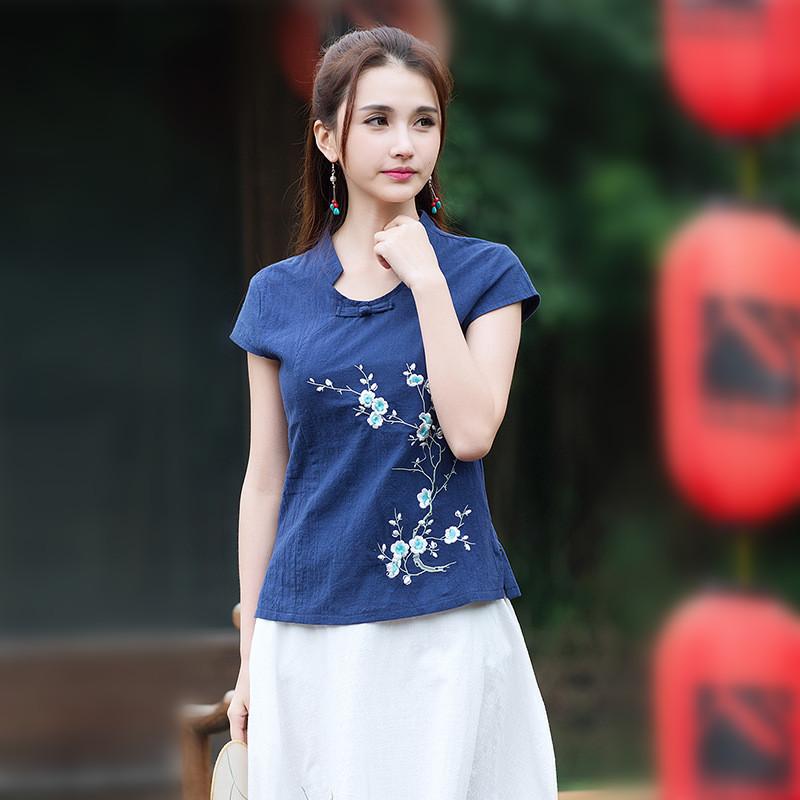 2016 Elegant Navy Blue White Flax Linen Clothing Summer Short Sleeve Leisure Slim Shirts Women Fashion New RH045(China (Mainland))