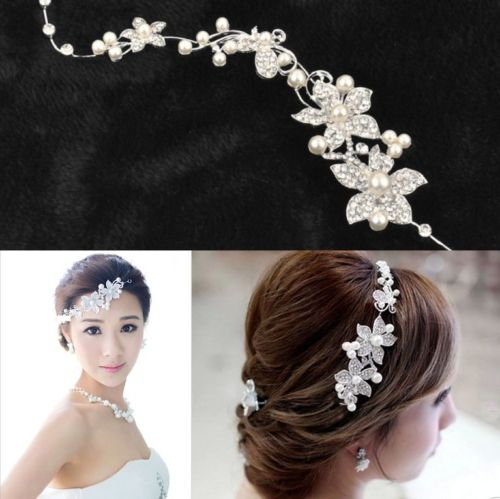 Hot Ladies Bridal Wedding Flower Delicate Pearls Beauty Crystal Chic Headband Hair Clip Comb Jewelry(China (Mainland))
