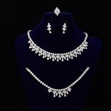 Hochzeit Schmuck Trendy Design Für Frauen Elegante Luxus Damen Schmuck CNY0035 Mit Hohe Qualität Edelstahl Halskette Set(China)
