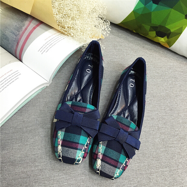 Japanese college style font b Plaid b font cloth women shoes lady bow low heeled shoes