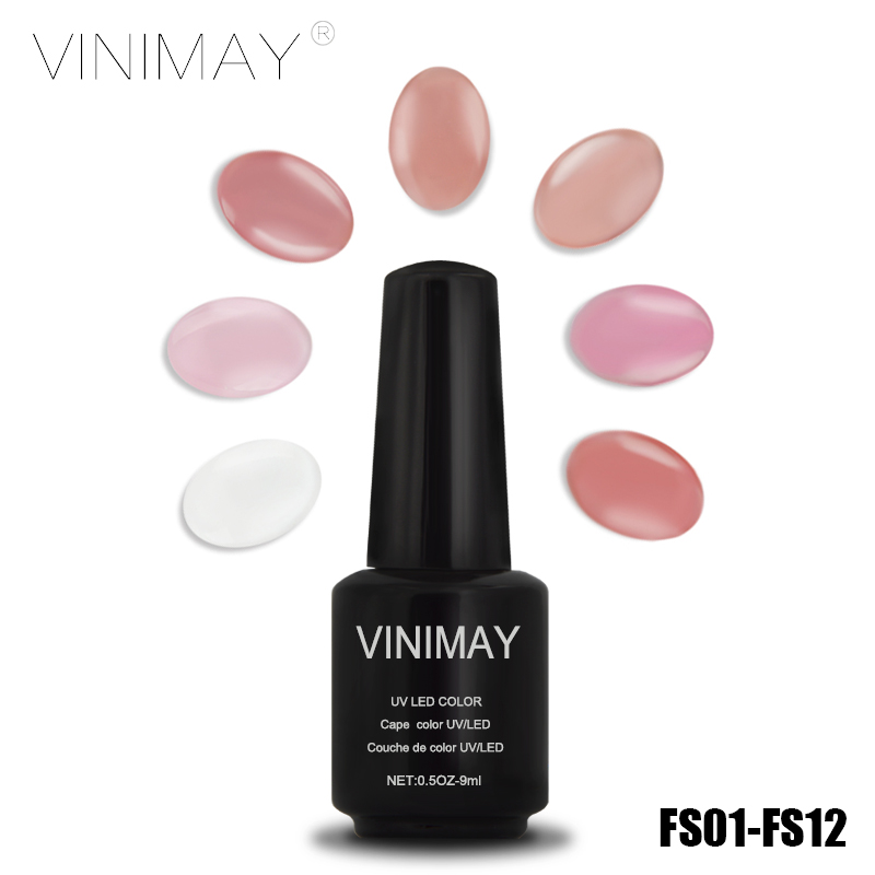VINIMAY French Jade 12 Color LED Gel Nail Polish Primer Transparent Clear Gels lak Vernis UV Nails Professional Permanent - Manicure store