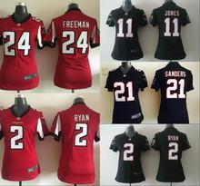 100% stitched women Atlanta Falcons ladies 2 Matt Ryan 11 Julio Jones 21 Deion Sanders 24 Devonta Freeman Embroidery Logos(China (Mainland))