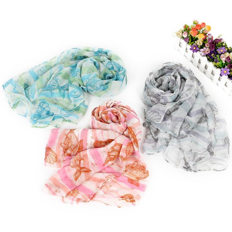 Sea Animal Starfish Print Scarf Long Women Shawl Viscose Wrap Ladies Scarves 2015 Muslim Hijab