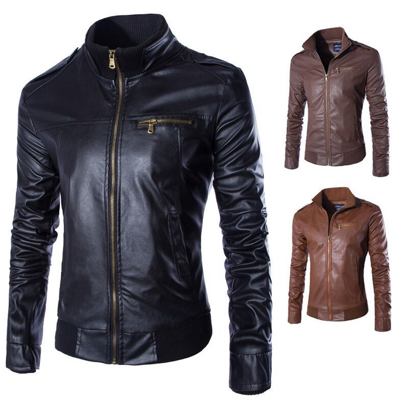 2015 new arrival slim men's leather jacket fashion quality leather jacket men casual motorcycle mens leather jackets and coats()