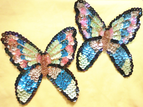 Exquisite fashion colorful beading sequined applique/12*12cm Large butterfly dance clothes accessories/Applique Wholesale(China (Mainland))
