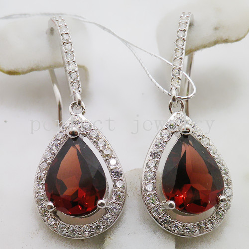 Garnet earring Free shipping Drop earrings Natural garnet 925 sterling silver Fine red gems Wholesales #15051412(China (Mainland))