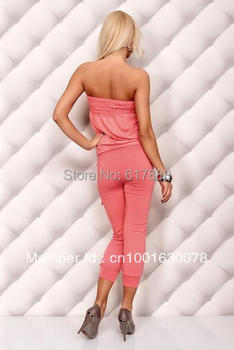 wholesale shipping Sexy  jumpsuit lady's  strapless women  1356 white, black, pink, blue, pink 12 colors