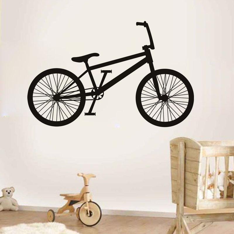Hot Sale Creative Home Decor Wall Sticker Bike Design Vinyl Self Adhesive Babys Room Wall Decorative Decal