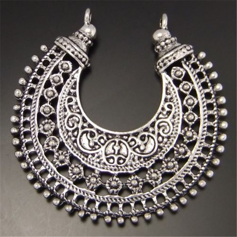 12pcs Silver Tone Moon Antique Style Shaped Necklace Alloy Charm Pendants 38*38mm 03268(China (Mainland))