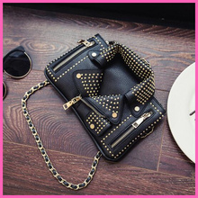New High quality fashion design rivet personalized jacket modeling envelope bag chain shoulder messenger bag ladies purse A548(China (Mainland))