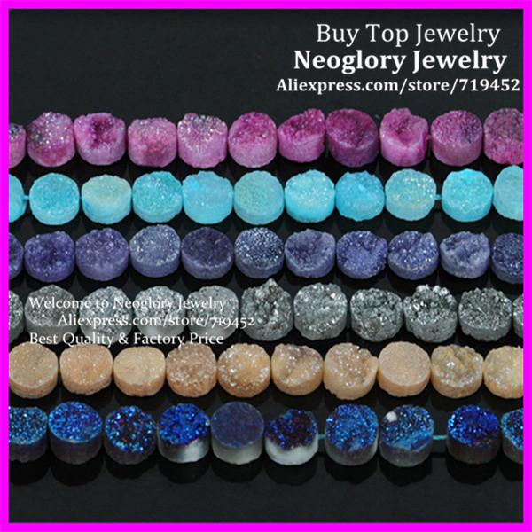 Mystical Titanium Drusy Agate flat round shape Pendant Bead, Coin Druzy Quartz Rainbow Cabochons Stone Beads 10X10mm(China (Mainland))