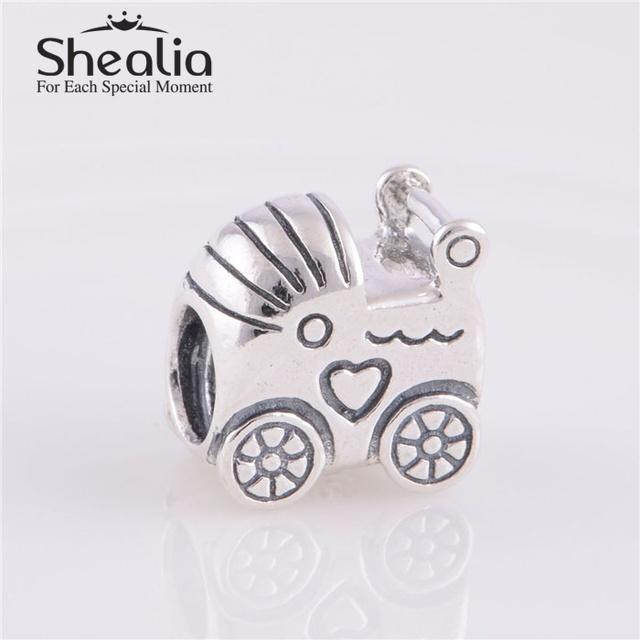 Подлинная стерлингового серебра 925 детские коляски подвески бусины DIY ремесло бусины ювелирных изделий подходит европейский браслеты
