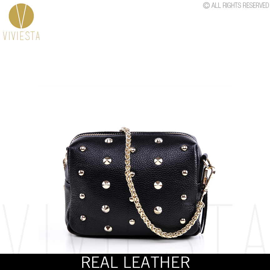 genuine real leather studded crossbody chain bag s