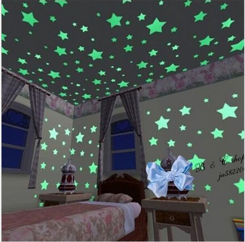 100pcs/lot Home Wall Glow In The Dark Stars Wall Stickers Decor Baby Kid's Nursery Room fairy star wall sticking accessories(China (Mainland))