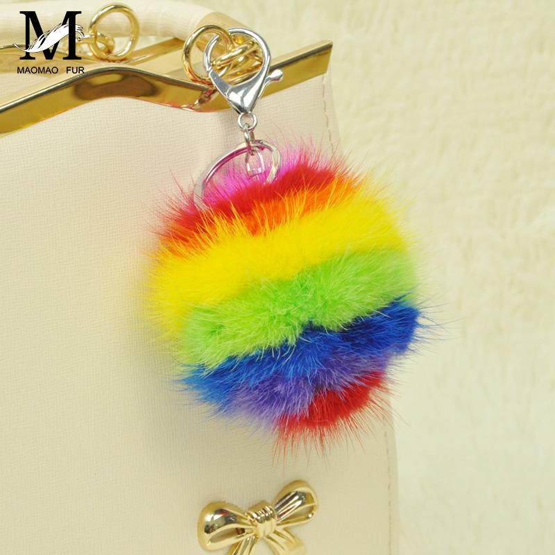 2016 Mink Fur Ball Key Chain Fur Pom Pom For Multicolor Mink Pom Keychain Key Chain Car Bag Hanging Charm Pendant Keyring-WH121(China (Mainland))