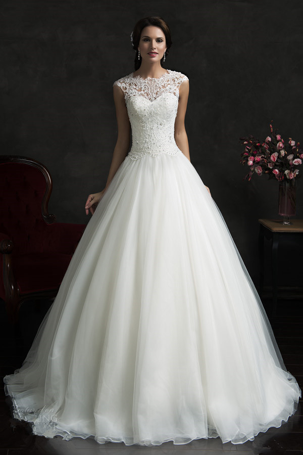 Buy 2015 on sale white organza ball gown for Wedding dresses sale online
