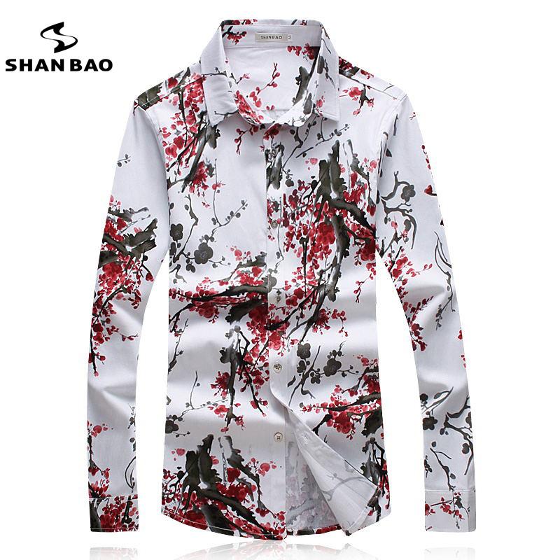 shan bao marca camisa de los hombres de moda plum flor color de impresin 2017 de
