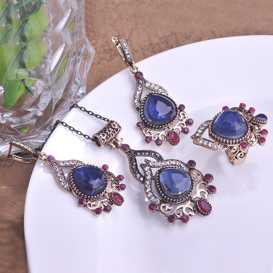 40% Sapphire Blue Jewelry Sets Necklace Earrings Dubai Gift Parure Bijou Jewellery Set Bijuterias Lot