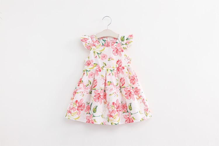 Girls summer print  fly sleeve princess dress , dress for girl , little girls dresses , 5pcs/lot   SMQ15<br><br>Aliexpress