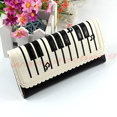 New Fashion Lady Piano Keyboard Design Purse Womens Synthetic leather Purses Wallet Long Section Holder Handbag<br><br>Aliexpress